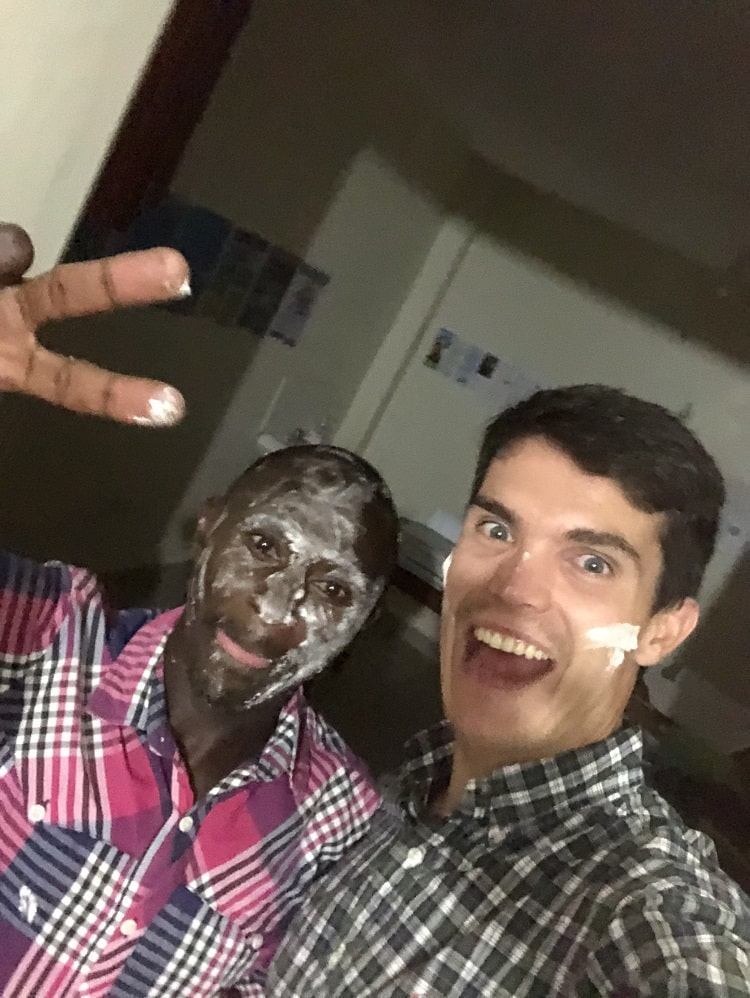 ChaCha with slightly more cake on his face than me! Dare in Kenya
