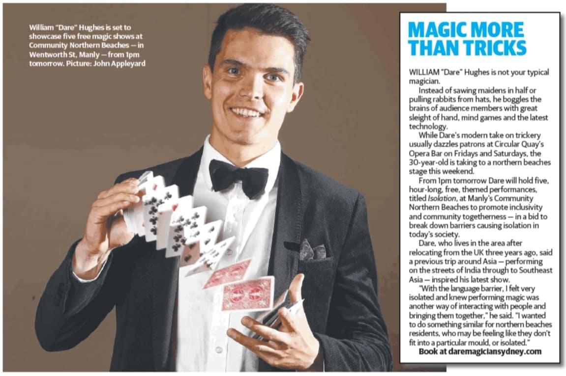 William Dare Hughes Five Free Magic Shows at Community Northern Beaches - Dare Magician Sydney